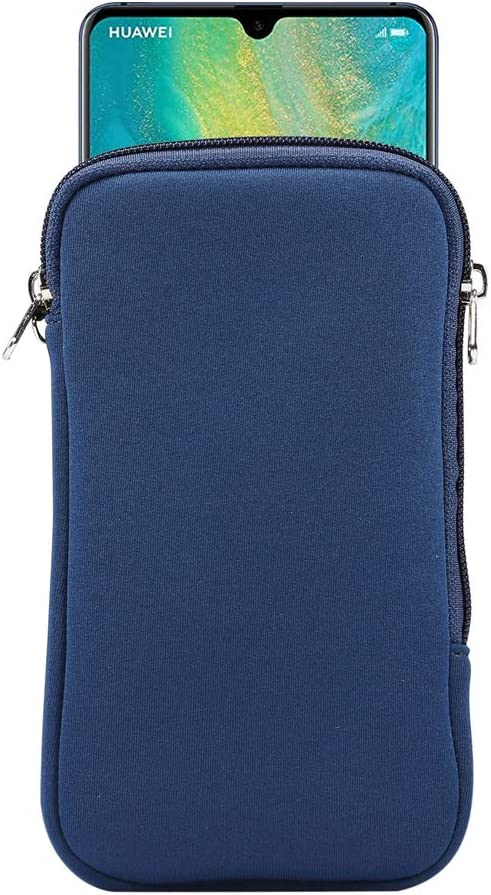 Neoprene Shock Absorbing Proof Pouch Large Cell Phone Sleeve Case Cover w Zipper/Neck Strap for Samsung Galaxy Note 20 Ultra 5G, Note 10+,S20 Plus,A20s / Moto G Power/LG Stylo 5/ Pixel 4 XL (Blue)
