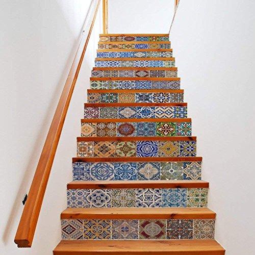 EXTSUD Set de 13 Pcs Sticker Carrelage Sticker Escalier Mosaïque DIY Autocollant Mural Style...