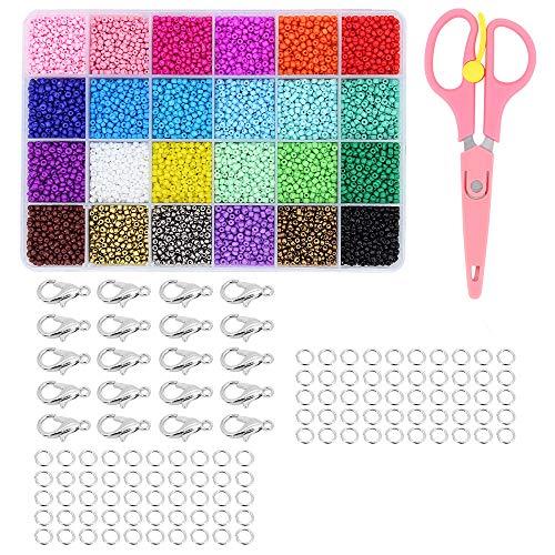 ShawFly 10300 pcs Perle Acrylique, 3mm Mini Perles en Verre, 4 * 7mm Alphabet Lettres Perles, pour Bijoux Perles Faire Art Artisanat Tissage Bracelets DIY