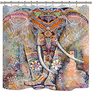 Wowzone Bohemia Elephant Shower Curtain Set India Animal Hippie Ethnic Boho Bathroom Home Decor Fabric Panel Waterproof Polyester 72x72 Inch with 12-Pack Plastic Shower Hooks