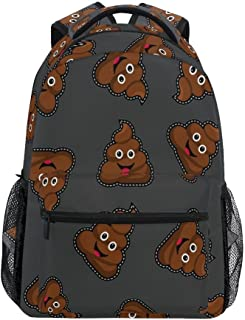 ALAZA Retro Brown Cute Poop Emoji Durable Backpack Book College School Travel Backbag Shoulder Bag for Women Girls Men Boys