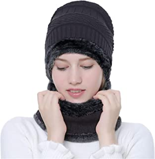 Winter Hat Warm Thick Beanie Hat Scarf Set Knitted Hat for Men Women