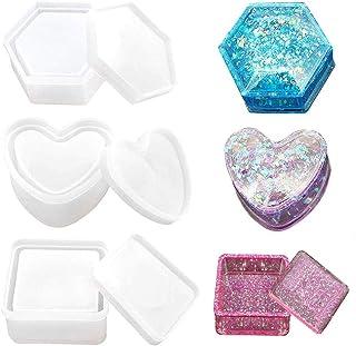 Caja de almacenamiento con forma de corazón, hexagonal, cuadrado para hacer moldes de resina