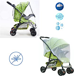 Stroller Rain Cover&Mosquito Net Set, Stroller Weather Shield and Baby Netting Mosquito (2-Piece Set) Waterproof, Windproof Protection - Travel-Friendly, Outdoor Use - Easy to Install and Remove