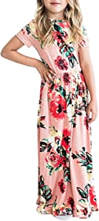 Girls Short Sleeve Floral Printed Casual Long Maxi Dress with Pockets
