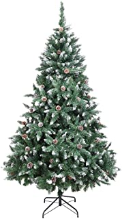 Bonnlo Upgraded Full 7ft Unlit Artificial 1350 Tips Branch Christmas Flocked Snowy Pine Cone Tree with Sturdy Metal Stand
