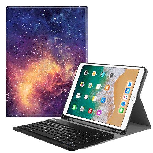 Fintie iPad Pro 10.5, hoes met geïntegreerd Apple-toetsenbord, SlimShell, beschermhoes met magnetisch afneembaar bluetooth-toetsenbord voor Apple iPad Pro 26,7 cm 2017, Z-Galaxy
