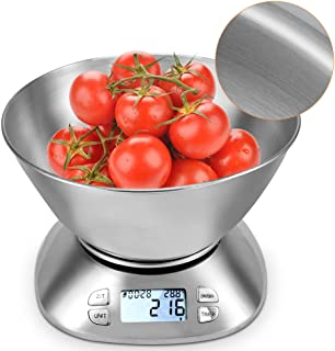 Meykey 11lb Digital Kitchen Food Scale Removable 2.15L Liquid Volume Stainless Steel Bowl, with Alarm Timer & Temperature Sensor