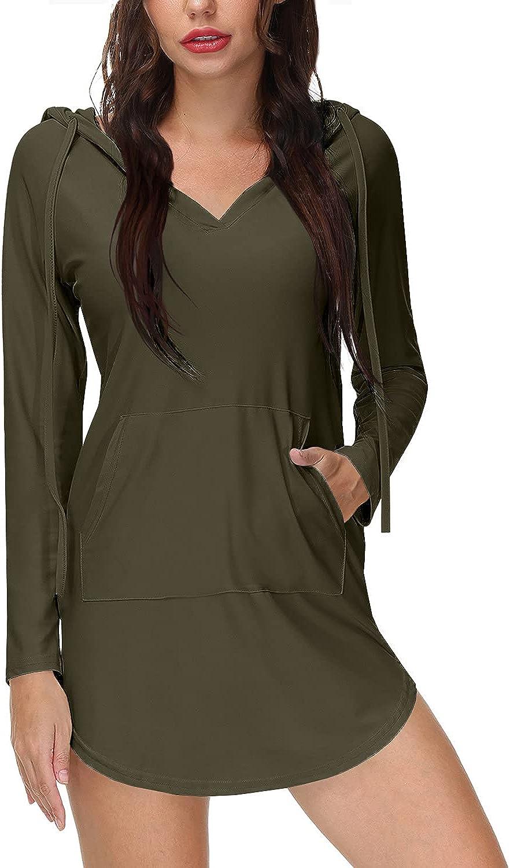 BesserBay Women's Zipper Hooded Rash Guard Shirt Coverups Dress UPF 50+ with Pocket