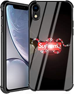 iPhone XR Case, Fashion Snake with Super Pattern Slim Fit Luxury Tempered Glass Glossy Black Cover with Soft Silicone TPU Shockproof Bumper Case Compatible for Apple iPhone XR 6.1inch