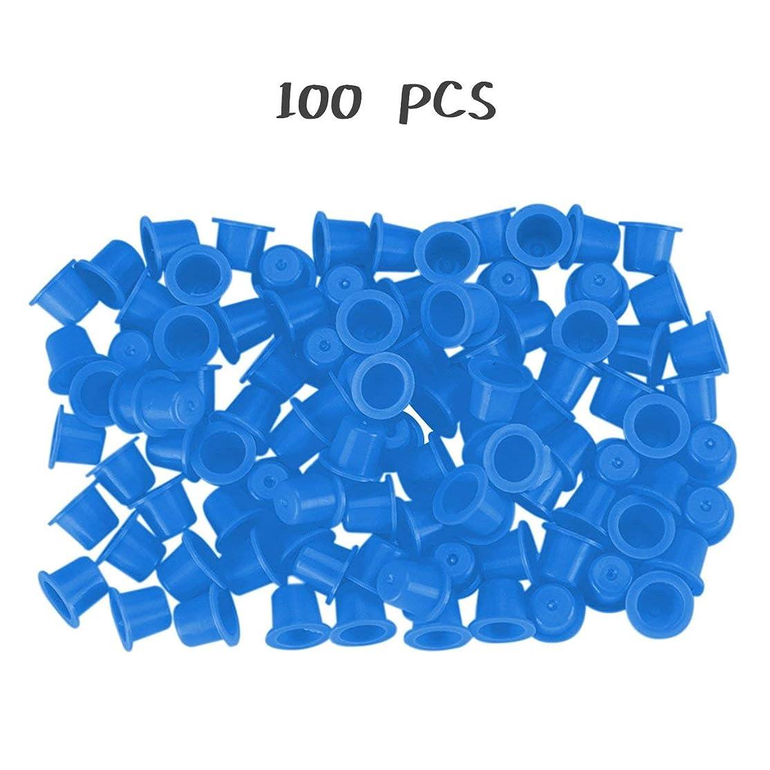 驚いた防衛窓DeeploveUU 100ピースイエロー/ブルー少数永久化粧タトゥーインクカップピグメントキャップタトゥーカラーカップアクセサリー