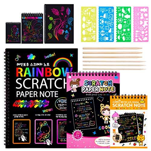 MELLIEX Scratch Art Notes per Bambini, Set di 3 Blocco da Disegno Arcobaleno Scratch Paper con 6 Penne Stilografiche in Legno e 4 Righelli da Disegno per Disegni, Giochi e Scrittura