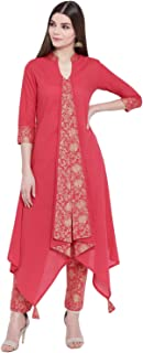 Khushal K Women's Cotton Kurta With Palazzo Pant Set