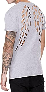 PASATO Personality Men's Casual Wing Short-Sleeved Shirt Top Blouse