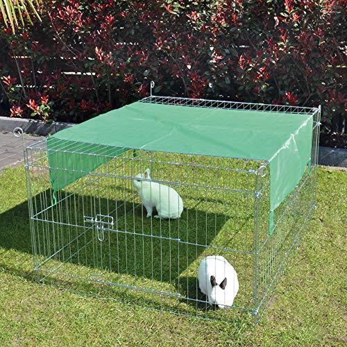 zooprinz wetterfestes Freilaufgehege mit festem Dach und Sonnenschutz - ideal für Deine Kleintiere draußen - Besonders stabiles Metall - platzsparend vers-taubar - 3 Größen zur Wahl (S)