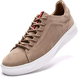 FLSHO Men's Classic Suede Leather Skate Shoes Lace Up Fashion Low Top Sneakers