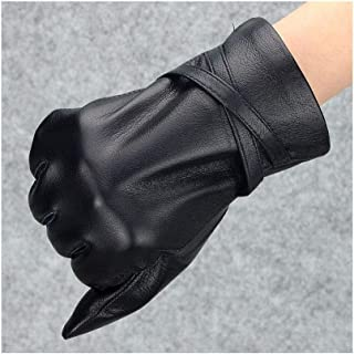 SHENTIANWEI Leather Gloves Ladies Thin/Plus Velvet Warm Riding Leather Gloves (Color : Thin section, Size : L)