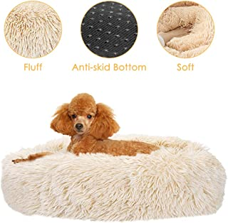 AutoWT Dog Bed, Donut Dog Bed Cat Beds Cuddler Nest Soft Plush Pet Cat Cushion with Cozy Sponge Non-Slip Bottom for Small Medium Pets Snooze Sleeping Indoor, Machine Washable