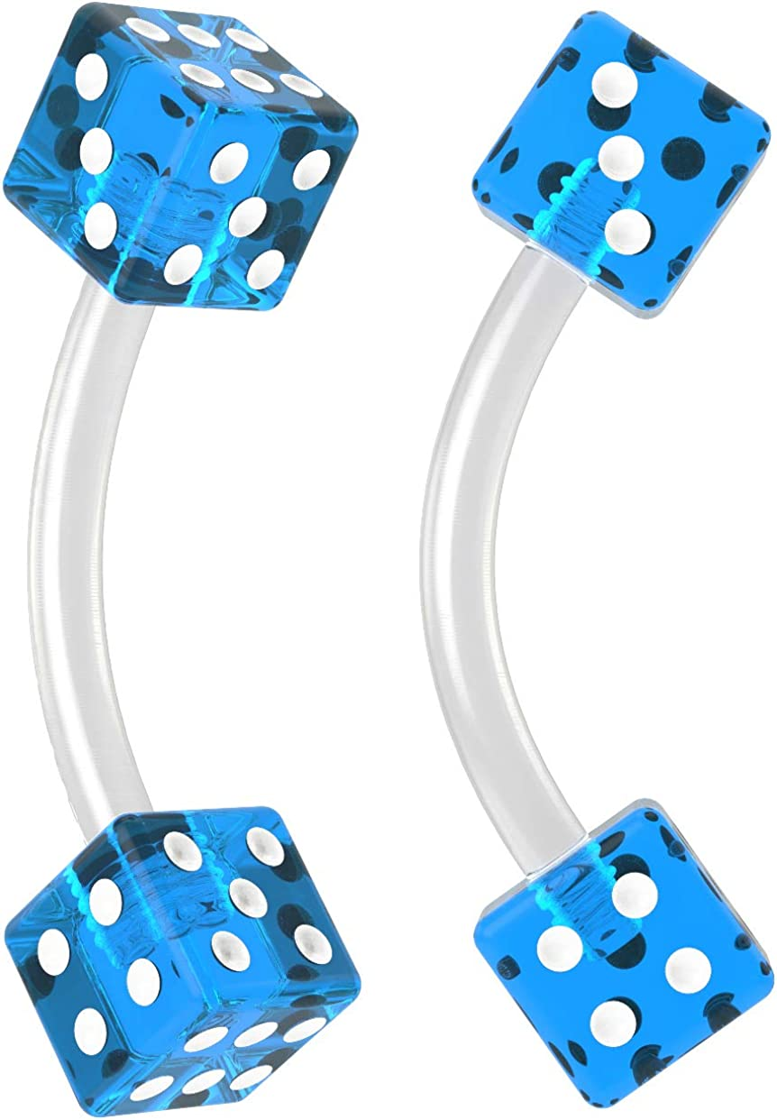 2pc 16g Curved Barbell Cartilage Earrings Flexible Acrylic Tragus Rook Dice Color Piercing Jewelry