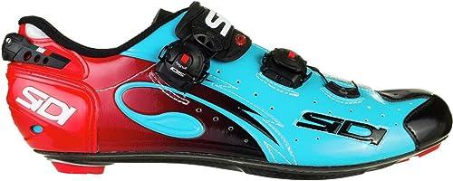 Sidi Road Wire Carbon Push Chaussures de Course Bleu Noir Rouge