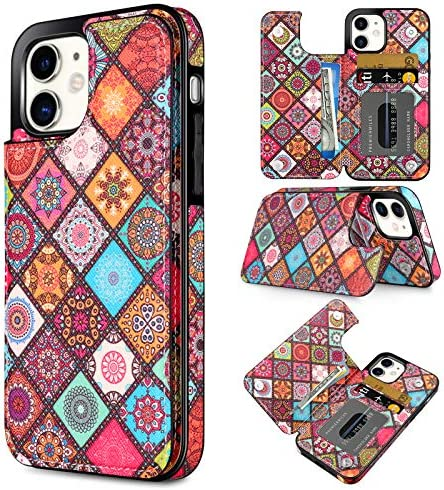 Coolden Compatible with iPhone 12 Pro Wallet Case Slim Credit Card Holder Painted Ethnic Totem product image