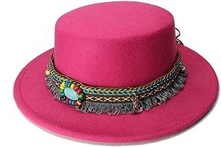 ファッションウールワイドつばキャップガールフェドーラポークパイポーピーボウラーハットタッセルターコイズレザーバンド(54cm /調整済み) 女性のファッション帽子 (色 : ローズレッド, サイズ : 52-54CM)
