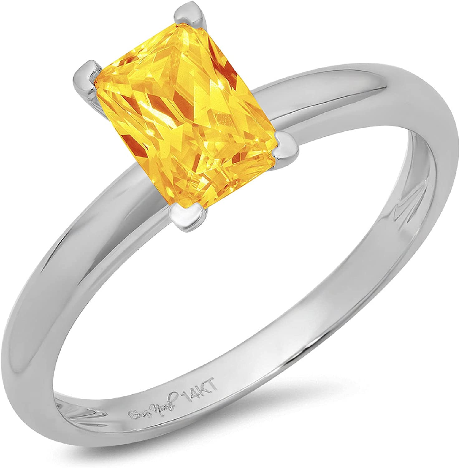 0.9ct Brilliant Emerald Cut Solitaire Natural Yellow Citrine Ideal VVS1 4-Prong Engagement Wedding Bridal Promise Anniversary Ring Solid 14k White Gold for Women