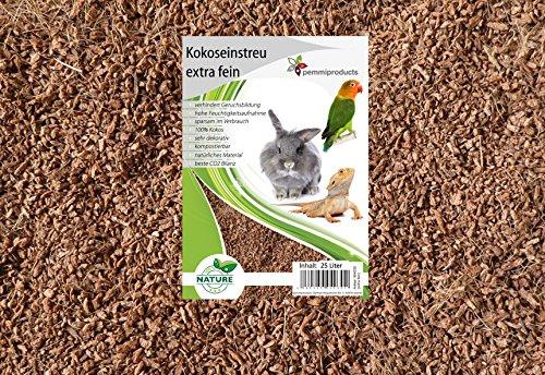 Litière de noix de coco extra fin, 100 litres (0,61 euros/litre), s'utilise comme revêtement pour les sols de cage, notamment les cages à lapins, cobayes, hamster, dègues, rats et autres rongeurs, convient également aux serpents, tortues et autres reptiles
