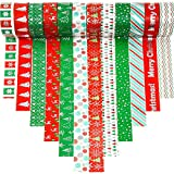 12 Rolls Holiday Washi Tapes 15mm Wide Christmas Masking Tape with 12Pcs Xmas Gift Stickers for...