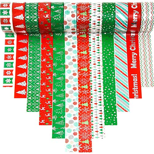 12 Rolls Holiday Washi Tapes 15mm Wide Christmas Masking Tape with 12Pcs Xmas Gift Stickers for Scrapbooking DIY Crafts