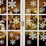 Naler 90 Pegatinas Ventana Decorativa Pegatinas Estáticas Copo de Nieve y 6 Pegainas Navideñas para Ventanas Puertas de Cristal Escaparates (Blanco)