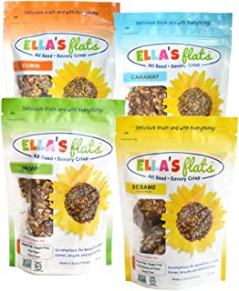 ELLA'S FLATS - Variety 4 pack - Certified Gluten Free, GMO Project Verified and Sugar Free, Grain Free, High Fiber, High Protein, Low Carb, Vegan, Keto Friendly, Whole 30, Paleo, Cholesterol Free