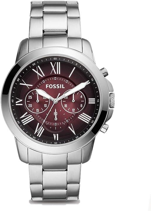 Orologio-  cronografo con cinturino Fossil grant -  in acciaio inossidabile color argento per uomo-fs5628