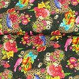 Stoffe Werning Dekostoff Papageien & Blumen schwarz bunt