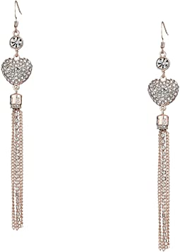 Pave Heart Tassel Linear Drop Earrings