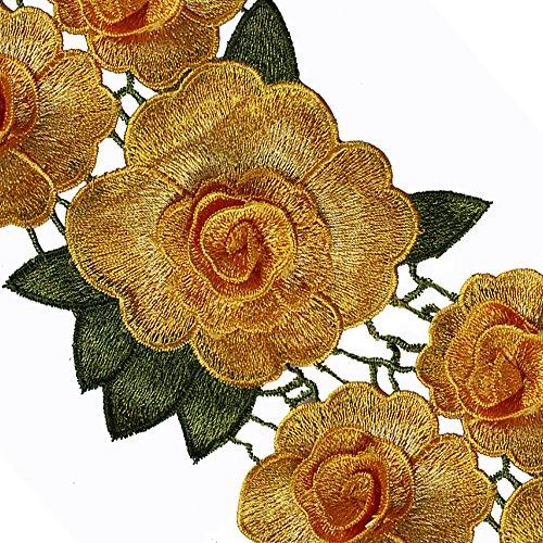 Parches de tela con diseño de flores en 3D de 91 cm, bordado, cinta adhesiva decorativa para costura amarillo