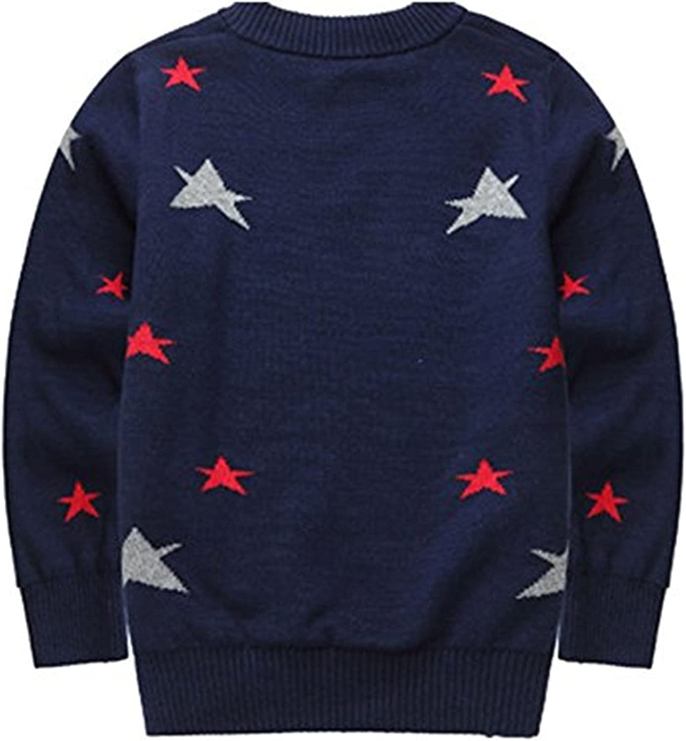 JELEUON Little and Big Boys Round Neck Long Sleeve Knit Pullover Sweater Sweatshirt