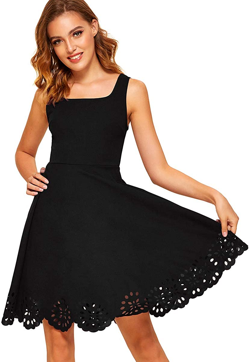 Romwe Women's A Line Swing Sleeveless Scalloped Flare Cocktail Party Dress