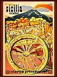A SLICE IN TIME Sicilia Italia Sicily Italy Italian Eterna Primavera Vintage Travel Advertisement Art Wall Decor Poster Print. 10 x 13.5 inches (Kitchen)