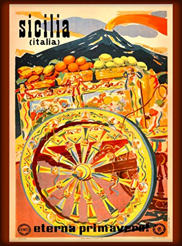 Sicilia Italia Sicily Italy Italian Eterna Primavera Vintage European Travel advertisement Art Collectible Wall Decor Poster Print. Poster measures 10 x 13.5 inches