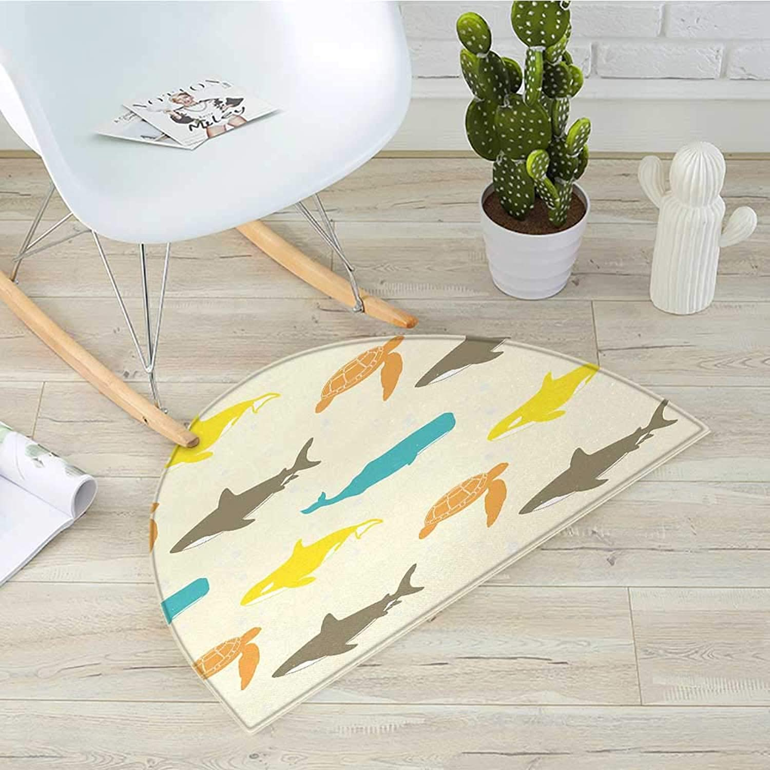 Sea Animals Half Round Door mats Pattern with Whale Bathroom Mat H 31.5  xD 47.2  Shark and Turtle Aquarium Doodle Style Marine LifeIvory Taupe Peach