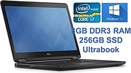 "Dell Latitude E7440 Flagship Ultrabook PC, 14"" Full HD Intel Core i7-4600U 2.1GHz, 8GB DDR3 RAM 256GB SSD Webcam Windows 10 Professional (Renewed)"