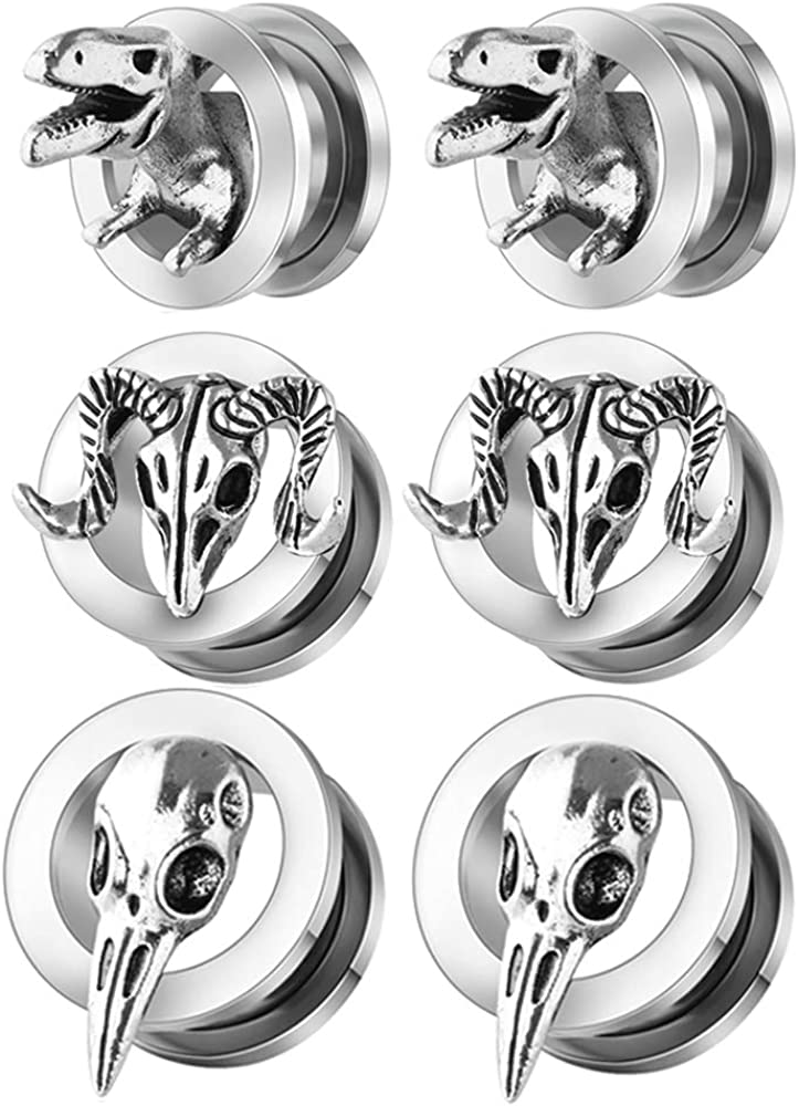 TIANCI FBYJS 3 Pairs Artiglio Retro Punk Ear Plugs Tunnels Gauges Stretcher Piercings Stainless Steel 00 Gauges Stretcher Flesh Tunnels Jewelry