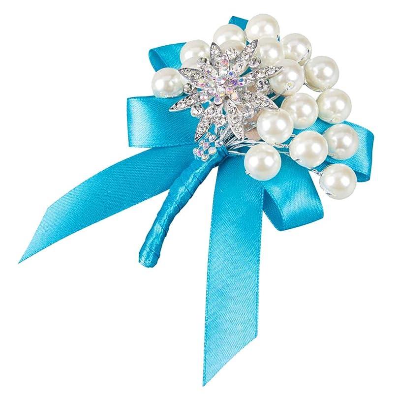 規模トムオードリースナイロンコサージュ 合金ピン 人工真珠 ラインストーン 結婚式 新郎新婦 衣装飾り 多色選べ - 水色