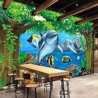 カスタム壁画3Dビッグツリーオーシャンシーン水中世界イルカリビングルーム寝室装飾壁画-250x170cm