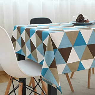 TEWENE Table Cloth, Wrinkle Free Cotton Linen Tablecloth Colorful Rectangle Table Cloths Washable Tablecloths for Rectangle Tables for Dining Kitchen (55''x70'',4-6 Seats, Triangle Blue)