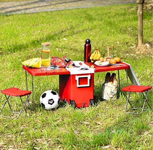 Opvouwbare outdoor campingtafel, koelbox op wielen, grote picknick tafel voor camping/strand/barbecue/vissen/familie uitbreidbaar & opvouwbare tafel met 2 krukken