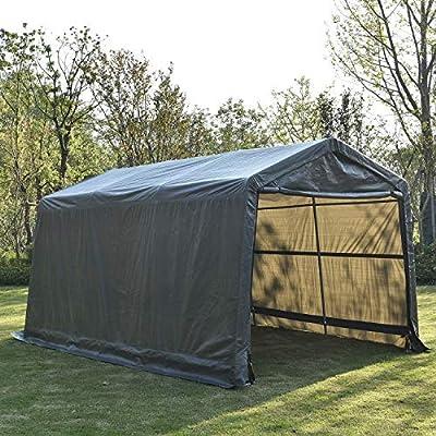 Bestmart INC 10x15ft Heavy Duty Grey Carport Portable Garage Storage Shed Canopy