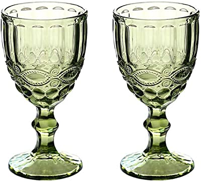 Wine Glass, Colored Glass Goblet, Set of 2, 10oz Vintage Pattern Embossed High Clear Glass Goblets for Party, Wedding,Green (Green-1)