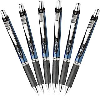 Pentel EnerGel Deluxe RTX Retractable Liquid Gel Pen, Fine Line, 0.5mm Needle Tip, Blue Barrel, Black Ink, Pack of 6